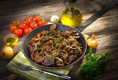 Grilled Liver with Onions Royalty Free Stock Photo