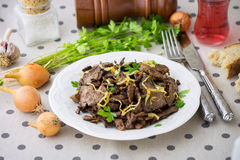 Grilled Liver with Onions Royalty Free Stock Photos