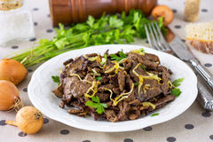 Grilled Liver with Onions Stock Photography