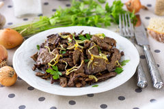 Grilled Liver with Onions Royalty Free Stock Image