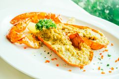 Grilled lobster with butter and garlic Stock Photos