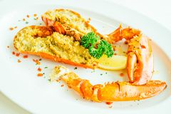 Grilled lobster with butter and garlic Royalty Free Stock Images
