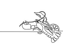 Grilled lobster. Continuous line drawing. Continuous line drawing. Grilled lobster. Vector illustration black line on white background Stock Photography