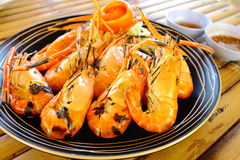 Grilled lobster in fire eat for side dish Royalty Free Stock Image