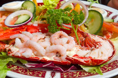 Grilled lobster and fresh shrimps Stock Images