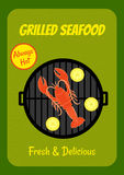 Grilled lobster. Retro poster template with image of grilled lobster and lemons on grassy background Royalty Free Stock Photo