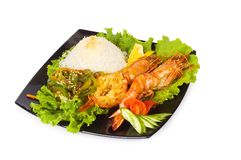 Grilled lobster, rice Royalty Free Stock Photos