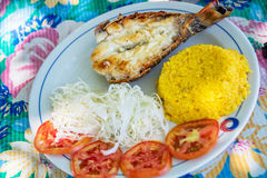 Grilled lobster with rice and salad in Cuba Royalty Free Stock Images