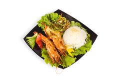 Grilled lobster, rice and vegetables isolated Stock Photography