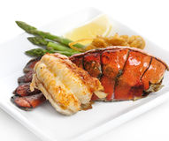 Grilled Lobster Tail. Served With Asparagus And Onion Stock Images