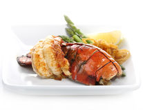 Grilled Lobster Tail. Served With Asparagus And Onion Stock Image