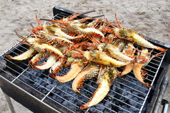 Grilled lobsters. On the guadeloupe beach stock image