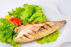 Grilled mackerel from above. Stock Image