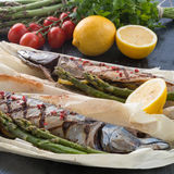 Grilled mackerel with asparagus Stock Image