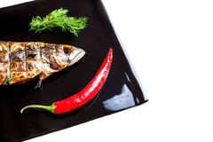 Grilled mackerel on a black plate Stock Photos