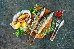 Grilled mackerel fish with baked potatoes Stock Image