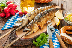Grilled mackerel fish with beer and pretzel Royalty Free Stock Image
