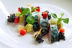 Grilled mackerel fish with blackberries. Royalty Free Stock Image