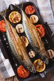 Grilled mackerel fish and vegetables closeup. vertical top view Stock Photos