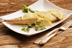 Grilled mackerel with lemon Stock Photo