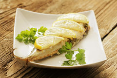 Grilled mackerel with lemon Royalty Free Stock Photo