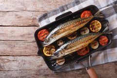 Grilled mackerel in pan with vegetables. horizontal top view Stock Photography