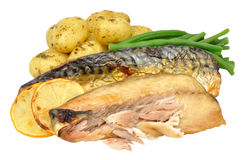 Grilled Mackerel And Potato Meal Stock Image