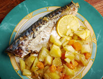 Grilled mackerel and potatoes Royalty Free Stock Photography