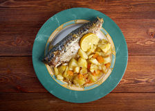 Grilled mackerel and potatoes Royalty Free Stock Photo