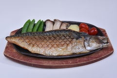 Grilled Mackerel Saba Shioyaki on wooden plate Royalty Free Stock Photography