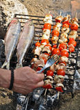 Grilled Mackerel and skewers Royalty Free Stock Photo