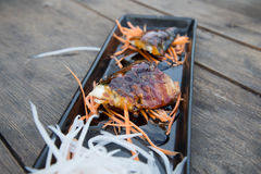 Grilled Mackerel. Steak with salad Stock Images