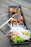 Grilled Mackerel. Steak with salad Royalty Free Stock Photography
