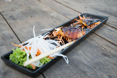 Grilled Mackerel. Steak with salad Royalty Free Stock Image