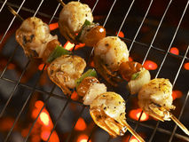 Grilled Malaysian shrimps on fire Royalty Free Stock Image
