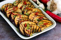 Grilled Marinated Eggplant slices. With raw vegetables behind. On slate Stock Image