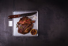 Grilled marinated flank steak Stock Photos