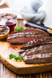 Grilled marinated flank steak Royalty Free Stock Images