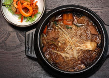 Grilled Marinated Pork in Earthen Bowl Stock Image