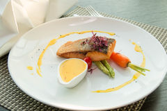 Grilled Marinated Salmon steak  meal Royalty Free Stock Photo
