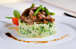 Grilled marinated sliced beef on savory rice Royalty Free Stock Photo