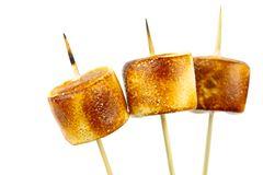 Grilled marshmallow. Grilled marshmallow on a stick Stock Image
