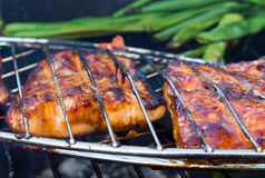 Grilled Meat. Tasty grilled pork meat and vegetables Stock Photos
