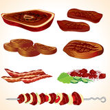 Grilled Meat. Illustration of Grilled Meat and Bacon Royalty Free Stock Image