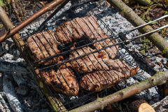 Grilled meat. Is cooked on a wood outdoor Stock Image