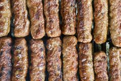 Grilled meat on the abrbeque plate Royalty Free Stock Image