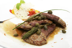 Grilled meat with asparagus Stock Photo