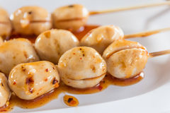 Grilled meat ball with spicy sauce in Thai stlye,selective focus Royalty Free Stock Images