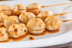 Grilled meat ball with spicy sauce in Thai stlye,selective focus Stock Image