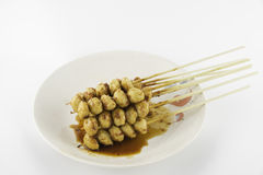 Grilled meat ball. With sweet spicy sauce Royalty Free Stock Photo